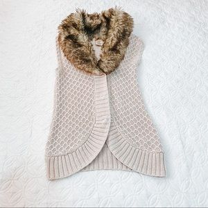 Knitted Fur Sleeveless Sweater Vest Jacket